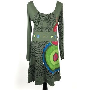 Desigual Green Embellished Long Sleeve Dress Sz Lg